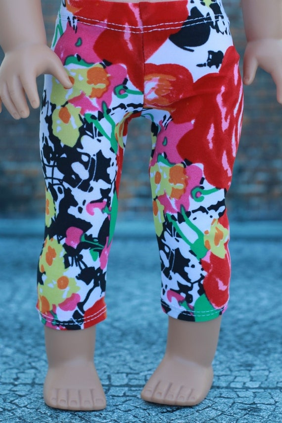 """18"""" Doll Clothes   Bold Floral Print Cropped LEGGINGS for 18 Inch Doll such as American Girl Doll"""