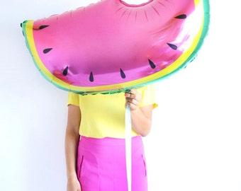 35'' Jumbo Watermelon Printed Foil Party Balloon with Satin Ribbon