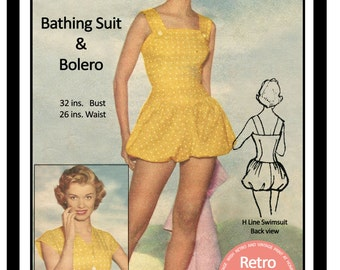 1950's H-Line Swimsuit Sewing Pattern - PDF Sewing Pattern - Instant Download