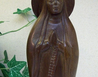 Vintage 1980's Hand Carved Wood - RELIGIOUS SANTO FIGURE – Nun in Prayer with Rosary – Artist Signed -