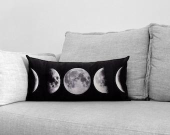 """lunar phase - 12"""" x 24"""" velveteen lumbar pillow case"""