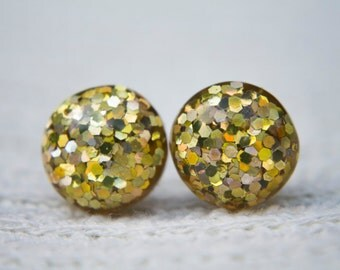 Gold Coloured Glitter Studs, Gold Studs, Gold, Glitter Studs, Glitter Earrings,  Post Earrings, Gold Glitter, Sparkly Earrings