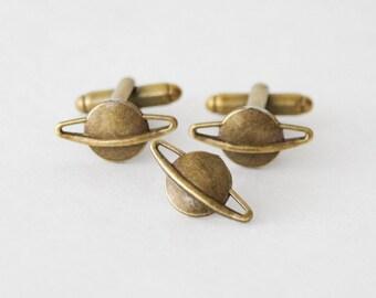 Saturn Cufflinks Tie Tack Set, Saturn Tie Pin Cufflinks, Planet Accessories, Geeky Gift for Men, Space Planet Cufflink Lapel Pin, Saturn Pin