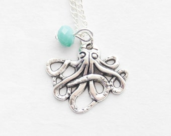 Octopus Charm Necklace Silver Octopus Jewelry Nautical Necklace Tentacles Statement Necklace Gift Octopus Birthstone Necklace Wedding Gift