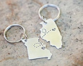 Long Distance Relationship KEYCHAINS, State Keychains, Best Friend Gift- Set of Two State Map Keychains, Long Distance BFF, Going Away Gift