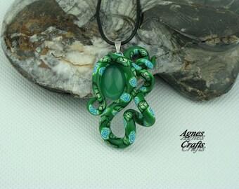 "Handmade pendant, ""Pretty Curl"", gemstone, Green Agate"