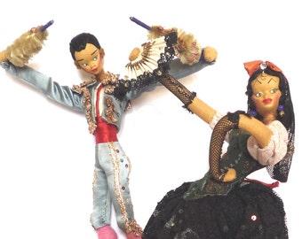 1950s Spanish Art Dolls, Vintage Flamenco and Matador Costume Dolls, Roldan Klumpe Layna Nistis Moulded Felt Cloth Folk Art Doll, Barcelona