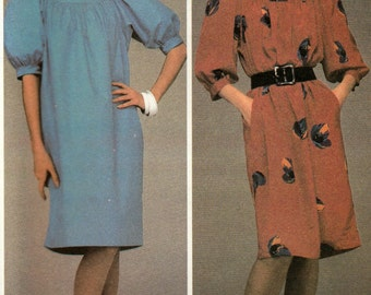 McCall's 9049 Sewing Pattern, Misses Pullover Dress Gathered to Neckband, Side Seam Pockets, Size  Small 10 to 12, Uncut Vintage Pattern