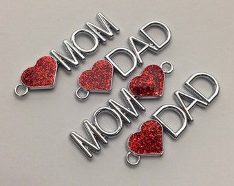 4 mom dad charms, red enamel antique silver,  11.5mm x 42.5mm #CH 490