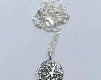 Sand dollar jewelry, sand dollar jewelry, sterling silver sand dollar necklace, ocean bridesmaid necklace, beach creature necklace,silver