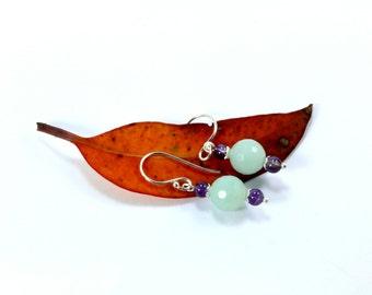 Amazonite Earrings, Amethyst Earrings,Sterling Silver Earrings, Amazonite, Amethyst, Aqua Earrings, Purple Earrings, Blue Earrings, Silver