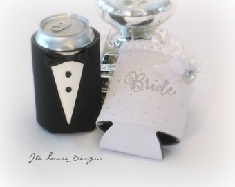 Bride and Groom Can Coolers, Set of Two, Wedding Drink Holders, Embroidered Wedding Coolers, Ready to Ship