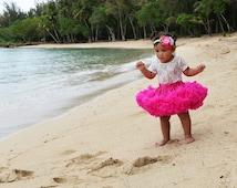 Baby Girls full ruffle PREMIUM Hot Pink pettiskirt tutu skirt petticoat twins photo prop Newborn size 0-6-9 6-12-24-36 months 2T 3T