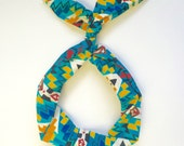 Blue, Yellow, Red Aztec Print- Byrd Band- Bendable Wire Headband for Adults, Kids, Baby