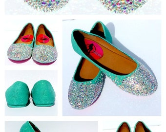 Mint AB Crystal Flats – Mint Ballet Flats – Bridal Shoes – Bridesmaid Shoes – Prom – Sweet 16