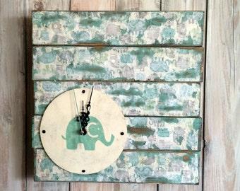 Elephant Nursery  Wall Clock - Elephant Clock - Baby Nursery Clock - Turquoise Clock - Elephant Decor - Kids Room Clock - Pallet Clock
