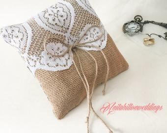 Burlap Ring bearer pillow, Bali ring bearer cushion, pillow page boy pillow, cushion, pillow, wedding pillow,