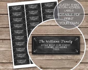 Chalkboard Return Address Labels Printable Avery 5160 Floral Leaf Rustic Instant Download Digital File Editable PDF Edit Yourself