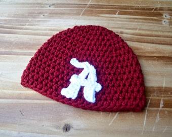Alabama Crimson Tide Crochet Beanie Hat All Sizes Preemie to Adult