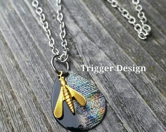 Black and Silver Glimmering Lure and Charm Fishing Theme Necklace