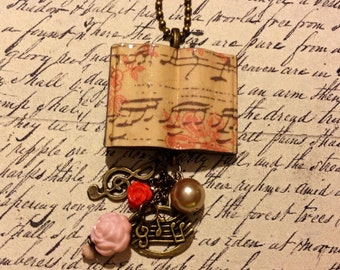 Sheet Music Book Necklace - Vintage Antique Style - Piano Teacher Choir Musician Song Band Choral Musical Director - Jewelry Gift Present