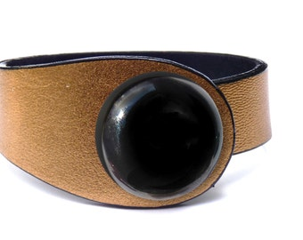 Gold leather bracelet, colorful ceramic button lock. High fashion bracelet, woman bracelet, cuff bracelet, leather fashion bracelet