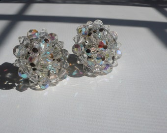 1960s Clear Bead Cluster Earrings | clip on