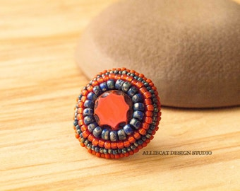 Bohemian Ring, Boho Orange and Navy Coin Ring (Adjustable)