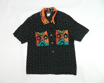 Vintage Abstract TRIBAL Print Floral Blouse