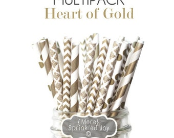 GOLD Mix Multipack, Straws, Gold, Chevron, Dots, Stripes, 25 Straws, Shower, Bridal, Damask, Polka, Party, Wedding, Christmas, New Year