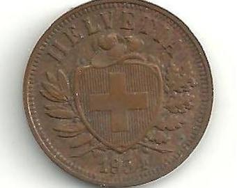 1934 Switzerland 2 Rappen KM4.2a coin