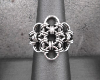 Stainless Steel Ring, Stainless Steel Chainmaille Jewelry, Chainmail, Chain Mail, Chain Maille Stainless Steel Flower Ring Metal Flower Ring