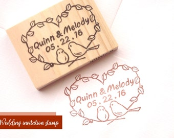 Custom Wedding Rubber Stamp, Birds And Name, Save The Date Stamp