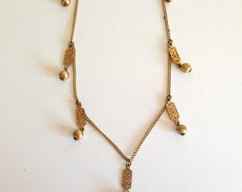 Vintage Gold Long Chain Wrap Necklace