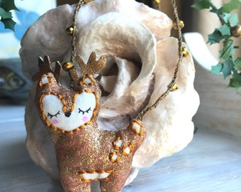 Sweet Embroidere Deer Bambi Long Pendant necklace