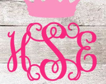 Tiara Vine Monogram | Princess Vine Monogram | Girly Vine Monogram | Vine Car Monogram  | Vinyl Decal | Yeti Decal | Girly Decal | Baby