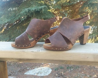 Vintage Leather Wooden Clogs by Sanita