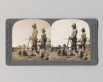 Keystone View Company Stereoview Working the Heliograph Johannesburg Fort South Africa