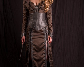 Inspired by Legend of the Seeker Confessor Kahlan's corset / skirt / jacket custom made season 2 dark costume 3 pieces