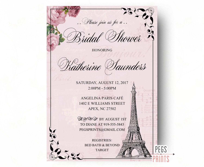 Parisian bridal shower invitation paris bridal shower for Paris themed invitations bridal shower