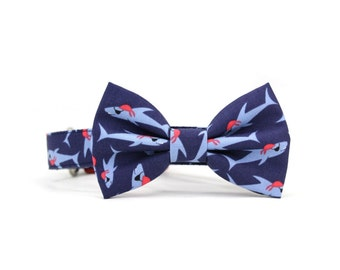 Pirate Shark Dog Bow Tie Collar Nautical Red Navy Blue Dog Bowtie Summer Dog Collar Bow Tie