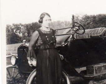 her new car ~  Vintage Photo