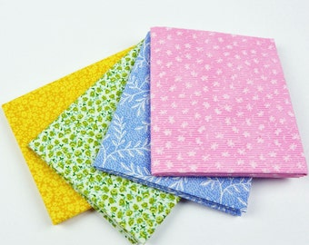 Fat Quarter Bundle Vintage Calico Fabric (4) Cotton Quilting Fabrics Floral Fabric Yellow Green Pink Blue Calico Prints Quilt Craft Fabric