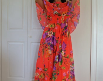 1970s Dress Psychedelic Neon Rainbow Floral Maxi Boho Chiffon Overlay and Capelet/M