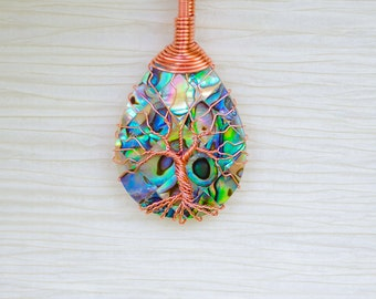 Tree of life, Mothers Day Gift for her, gift for women, abalone necklace, Tree of life pendant