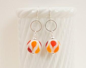Orange red burgundy white glass earrings, modern glass earrings, retro style earrings, colourful earrings, opaque white earrings