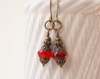 Red earrings, czech glass earrings, antique bronze earrings, ruby red earrings, glass turbine earrings, glass lantern earrings, glass drops
