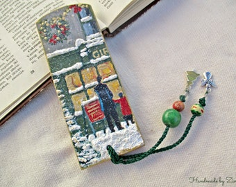 Winter City Wooden Decoupage Bookmark, Wooden Bookmark, Winter Bookmark, City Bookmark, Book Accessories, Christmas Snow Owl Bookmark,
