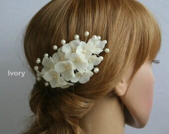 Bridal Flower Pearl Comb Hydrangea Comb Wedding flower headpiece Bridal Hair Flower Clay hair flower Bridal Comb