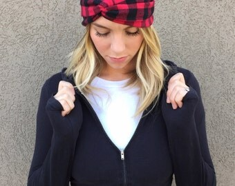Classic Lumberjack Flannel Turban Twist Headband / Buffalo Plaid / Red and Black Plaid / Buffalo Check